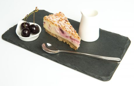Baked Cherry & Amaretti Cheesecake Plated
