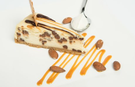 Baked Chocolate Chip & Caramel Cheesecake Plated