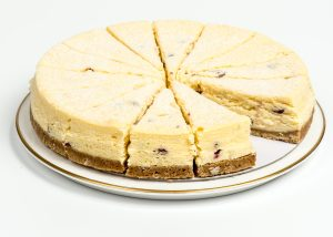 Baked Cranberry, White Chocolate & Orange Cheesecake