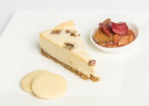 Baked Rhubarb & Ginger Cheesecake Plated
