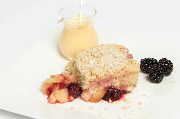 Bramley Apple & Blackberry Crumble Plated