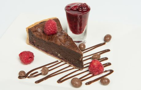 Chocolate Raspberry Tart Plated