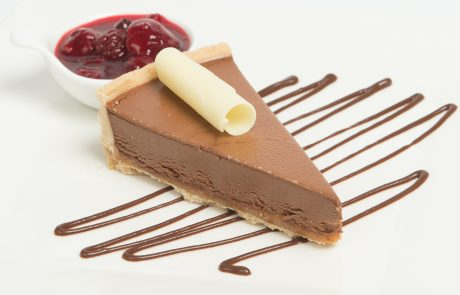 Chocolate & Salted Caramel Tart Plated