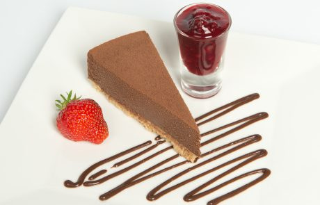 Dark Chocolate Truffle Torte Plated