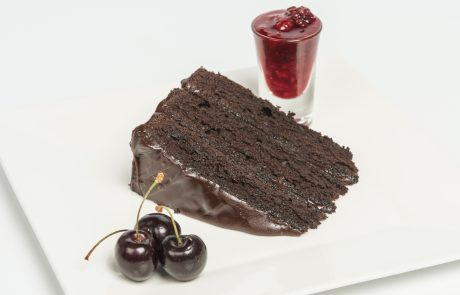 Deep Chocolate Fudge Cake Plated