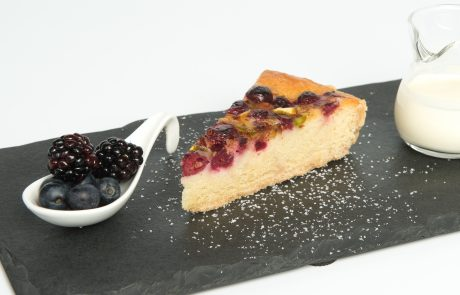 Glazed Cranberry & Almond Bakewell Tart Plated