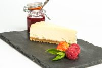 Gluten Free Baked Vanilla Cheesecake Plated