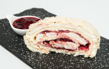 Raspberry Meringue Roulade Plated